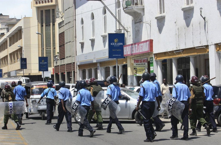 <p>Police patrolling the streets of Mombasa, Kenya, earlier this year. The US Embassy has warned that a terrorist attack on the city could be