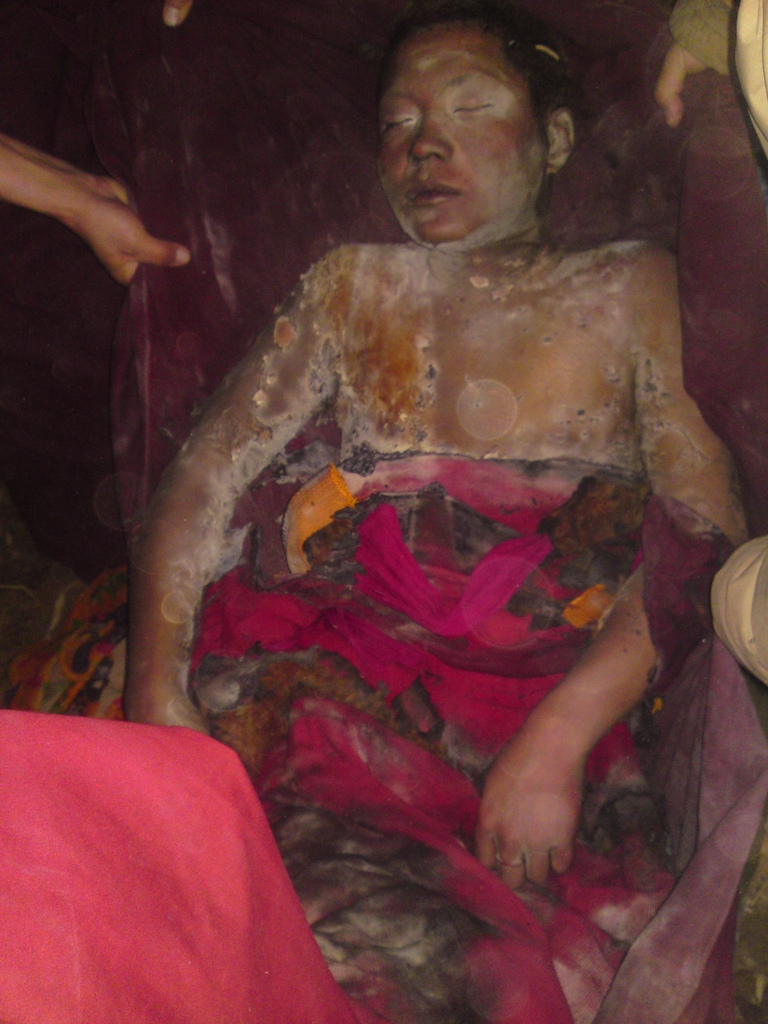 <p>The body of Phontsok, a 21-year-old Tibetan monk from Ngaba Kirti Monastery after he self-immolated in protest of the Chinese government's crackdown in Tibet, shown on March 16, 2011.</p>