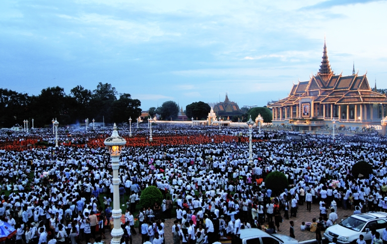 <p>Hundreds of monks sit in mass meditation in front of the Royal Palace in Phnom Penh, Cambodia on October 24th.</p>