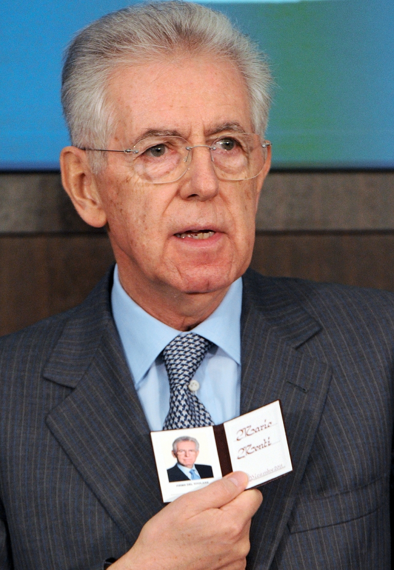<p>Mario Monti today at a press conference following an auction of 10-year Italian bonds that saw yield prices come down below the danger level of 7 percent</p>