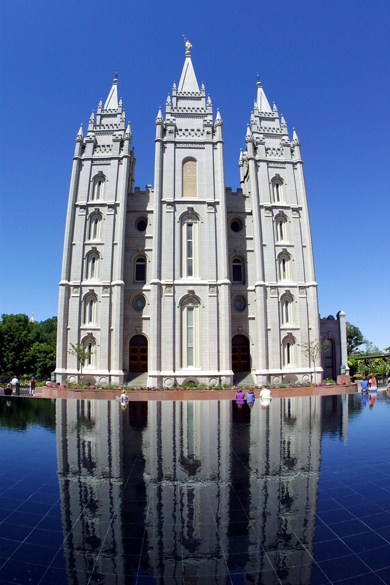 <p>The Temple of the Latter Day Saints, more commonly referred to as the Mormon Temple, is an imposing structure, with its spires, the golden Angel Moroni blowing his trumpet.</p>