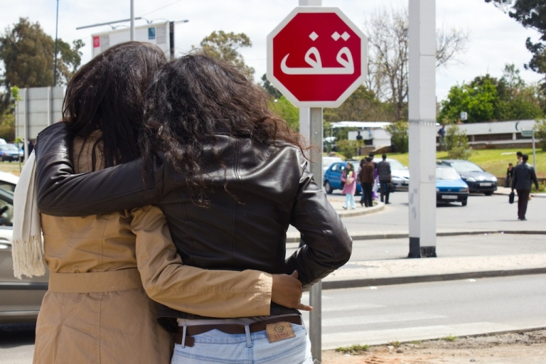 <p>In Morocco, coming out is a choice that could destroy lives. Typical social behavior for women includes close physical contact, as pictured above, but gay women often must leave to start again elsewhere or stay and live in silence.</p>
