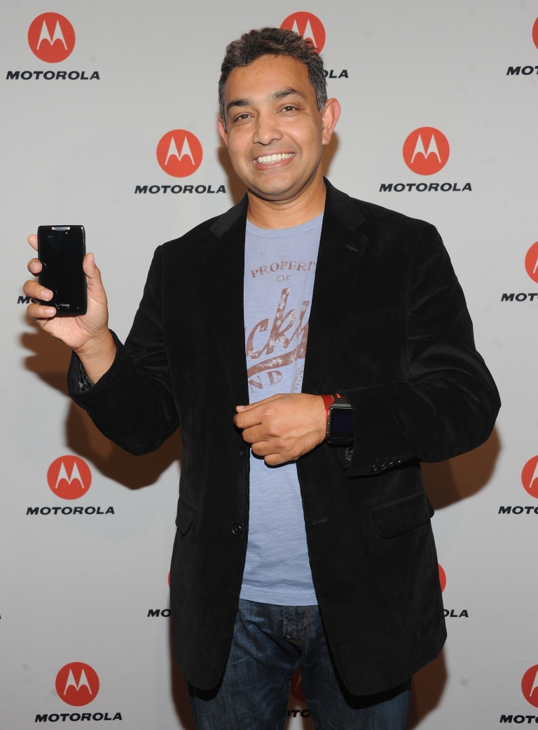 <p>Sanjay Jha, Chairman and CEO of Motorola Mobility, at a launch event for the DROID RAZR by Motorola in New York City on Oct. 18, 2011.</p>