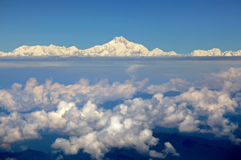 <p>A photo taken on Sept. 30, 2010 shows Mount Everest (C) from the window of a Druk Air aircraft during a flight from Bangkok to Paro. Everest is the world's highest mountain above sea level, at 29,029 feet high.</p>