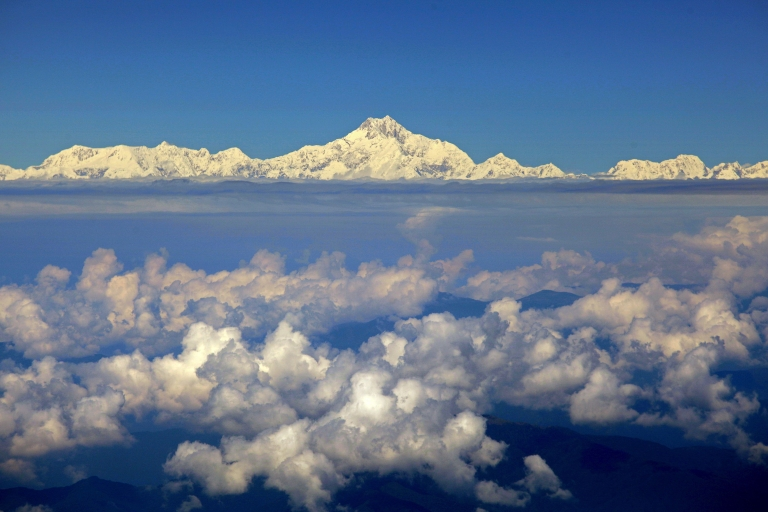 <p>Mount Everest (C) from the window of a Druk Air aircraft during a flight from Bangkok to Paro.</p>