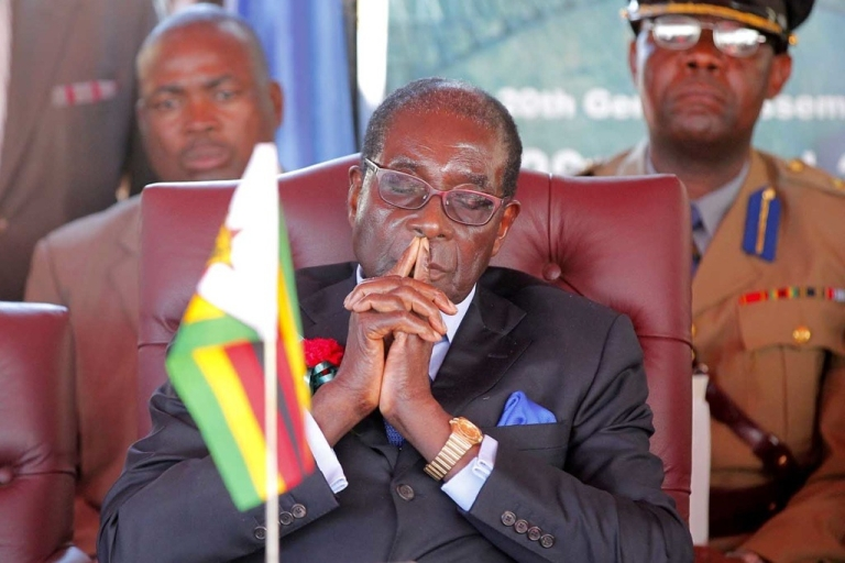 <p>Zimbabwean President Robert Mugabe, 88, in Victoria Falls at the ceremony announcing that Zimbabwe and Zambia will co-host the UN World Tourism Organization General Assembly in August, 2013.</p>
