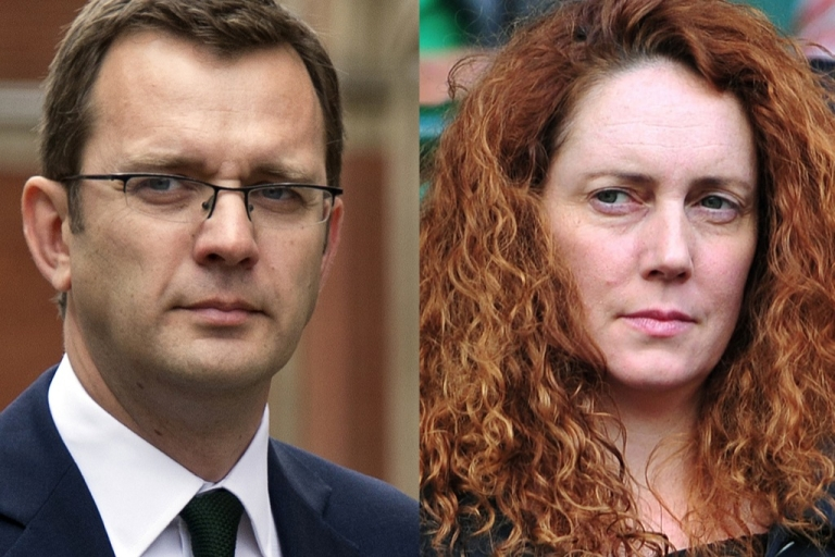<p>Revelations from criminal proceedings against Andy Coulson (L) and Rebekah Brooks may make David Cameron vulnerable ahead of general elections in 2015.</p>