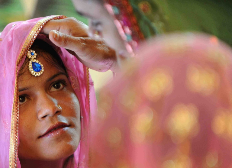 <p>An Indian Muslim bride awaits her wedding. Recently, the Delhi High Court ruled that a 15-year-old Muslim girl could be legally wed under