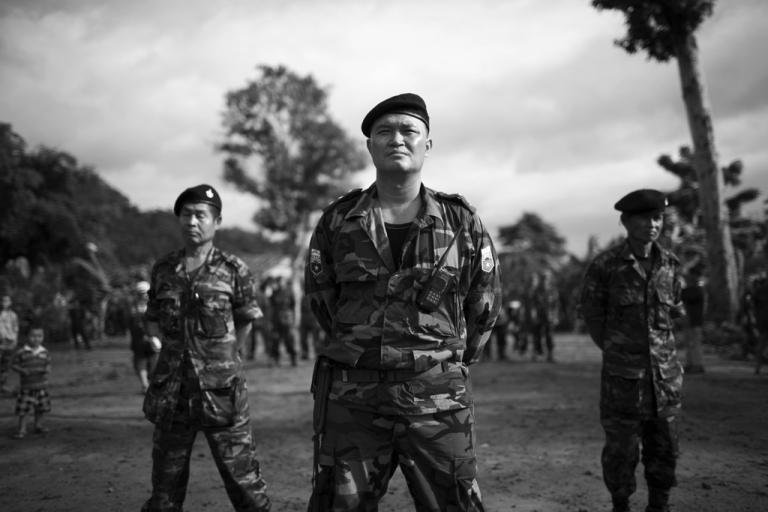 <p>Col. Mya Nerdah, son of legendary Karen rebel leader Bo Mya, stands at the Karen National Liberation Army 6th Brigade Martyr Day celebration.</p>