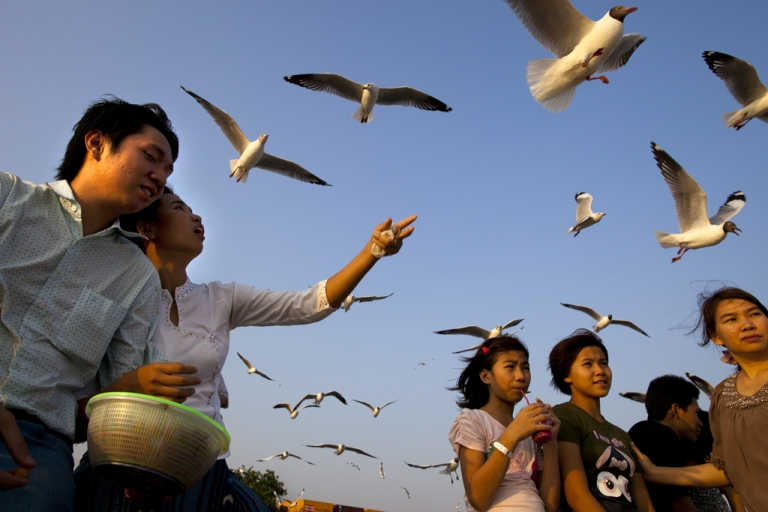 <p>Burmese feed the seagulls at a jetty along the Yangon river ahead of the parliamentary elections on March 29, 2012, in Myanmar.</p>