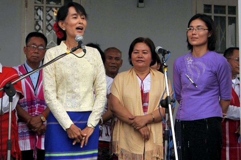 "<p>From left to right: Aung San Suu Kyi; Zipporah Sein, general secretary of the Karen National Union; May-Oo Mutraw, senior peace negotiator with Karen National Union in purple. Please ignore Getty's unusual spelling of ""Si Pho Ra"" for what should be ""Zipporah.""</p>"