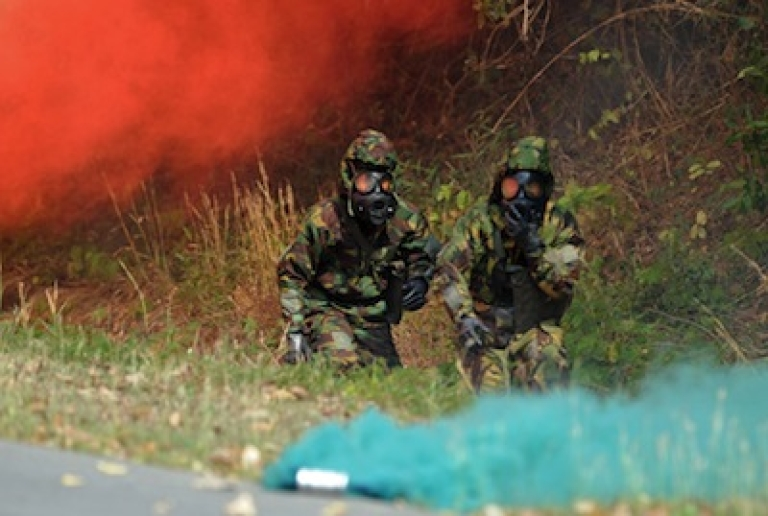 <p>Thai soldiers training in Cobra Gold, America's largest war games, run through chemical attack drills on February 14, 2012. Thai military forces repelled an attack in the restive south of the nation by insurgents on Feb 13th, killing 16.</p>
