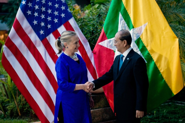 <p>US Secretary of State Hillary Clinton shakes hands with Myanmar President Thein Sein before a meeting in Siem Reap on July 13. Clinton met with Myanmar President Thein Sein for landmark talks days after Washington eased its sanctions on the once-pariah state.</p>