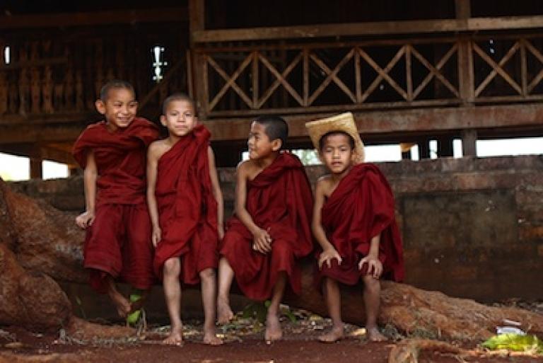 <p>Novice monks in Myanmar's Shan State.</p>