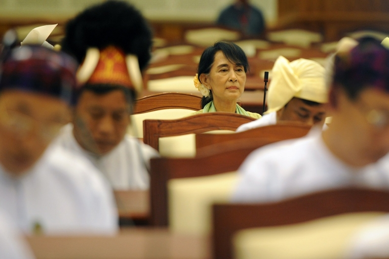 <p>Myanmar opposition leader Aung San Suu Kyi attends the lower house parliament session in Naypyidaw on July 9 2012, marking a new phase in her near quarter century struggle to bring democracy to her homeland.</p>