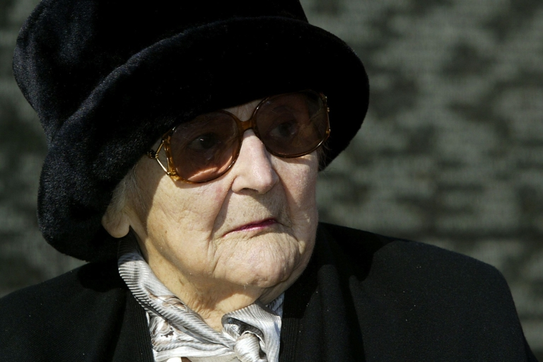 <p>Nancy Wake, pictured March 2, 2004, sitting in front of the Australian war memorial during a ceremony at Hyde Park corner in London. The Australian World War II heroine — a prominent figure in the French Resistance was known as the