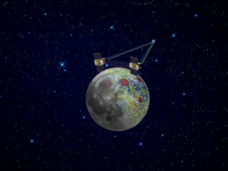 <p>Using a precision formation-flying technique, the twin Grail spacecraft will map the Moon's gravity field, as depicted in this artist's rendering.</p>