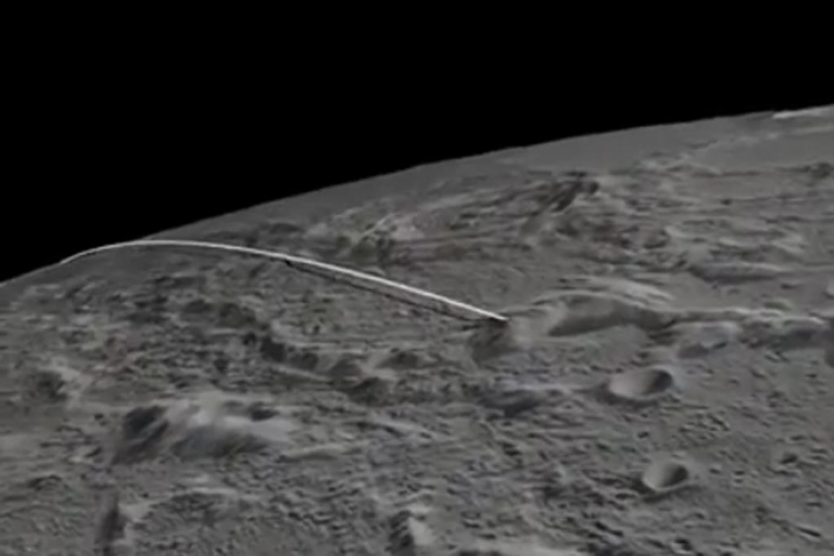 <p>A screengrab from a video showing the projected path of the twin probes NASA will crash into the moon today.</p>
