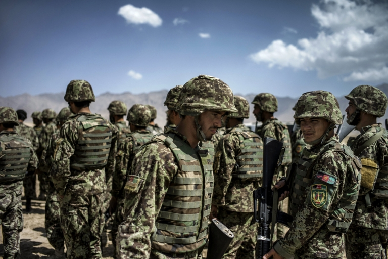 <p>Afghan National Army soldiers take part in an exercise under the supervision of French soldiers, on September 25, 2012, in Kabul. France is the fifth largest contributor to NATO's International Security Assistance Force, which is due to pull out the vast majority of its 130,000 troops by the end of 2014.</p>