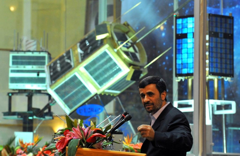 <p>Iranian President Mahmoud Ahmadinejad speaks during the unveiling ceremony of new satellite rockets in Tehran on February 3, 2010.</p>
