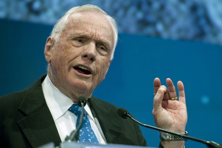 <p>Neil Armstrong, the first man to walk on the moon, died at the age of 82 on August 25, 2012.</p>