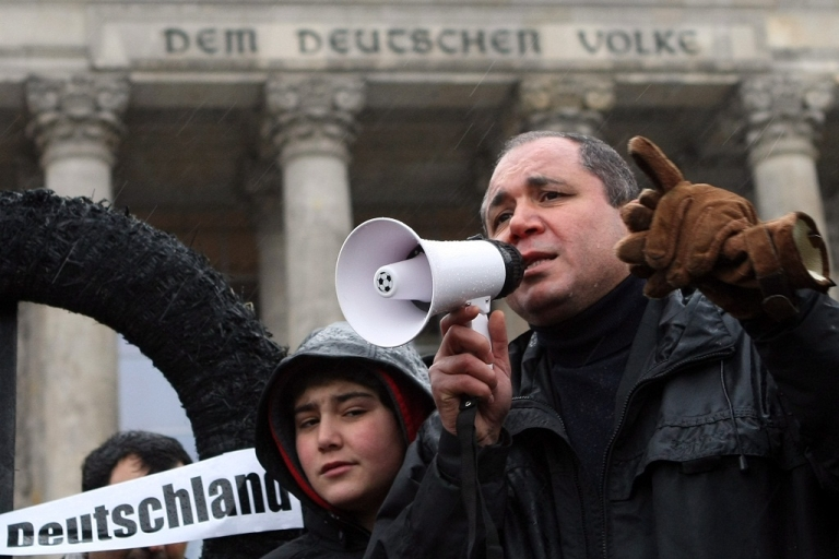 <p>Protestors demonstrate against racism in front of the Reichstag, on Dec. 3, 2011 in Berlin. Several such demonstrations have been held as an investigation into alleged neo-Nazi murders continues. Eight of the murder victims were of Turkish descent.</p>
