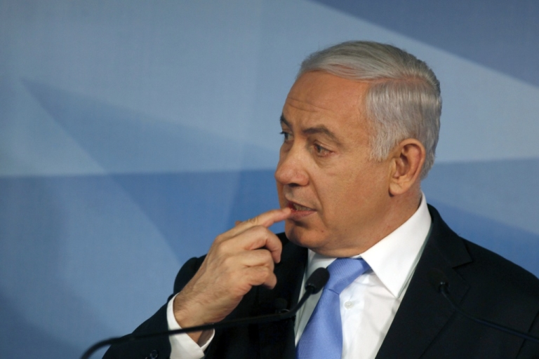 <p>Israeli Prime Minister Benjamin Netanyahu gestures during a press conference marking the start of his fourth year in power on April 3, 2012 in Jerusalem.</p>