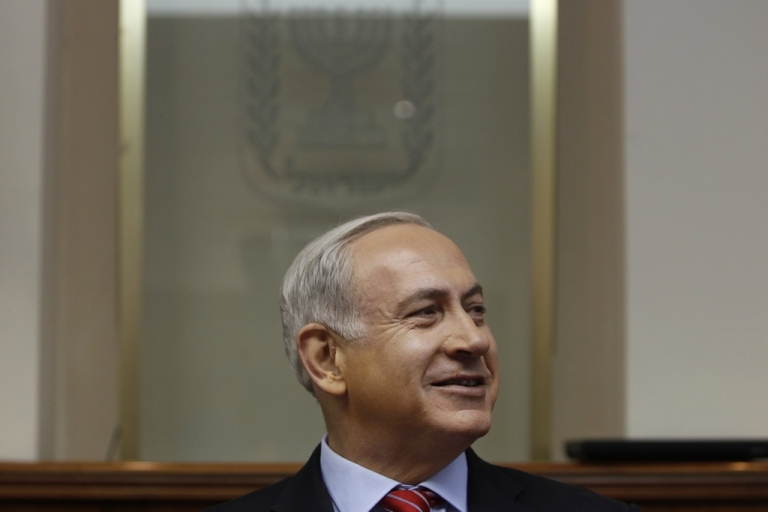 <p>Israeli Prime Minister Benjamin Netanyahu attends the weekly cabinet meeting at his offices on Sept. 2, 2012 in Jerusalem, Israel.</p>
