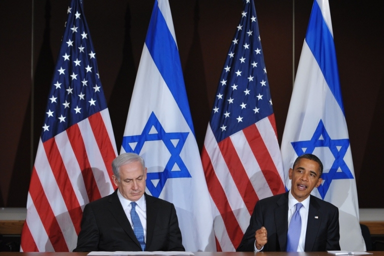 <p>US President Barack Obama speaks during a bilateral meeting with Israeli Prime Minister Benjamin Netanyahu on Sept. 21, 2011 at the United Nations in New York City.</p>
