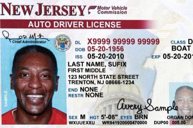 <p>A sample New Jersey driver's license.</p>