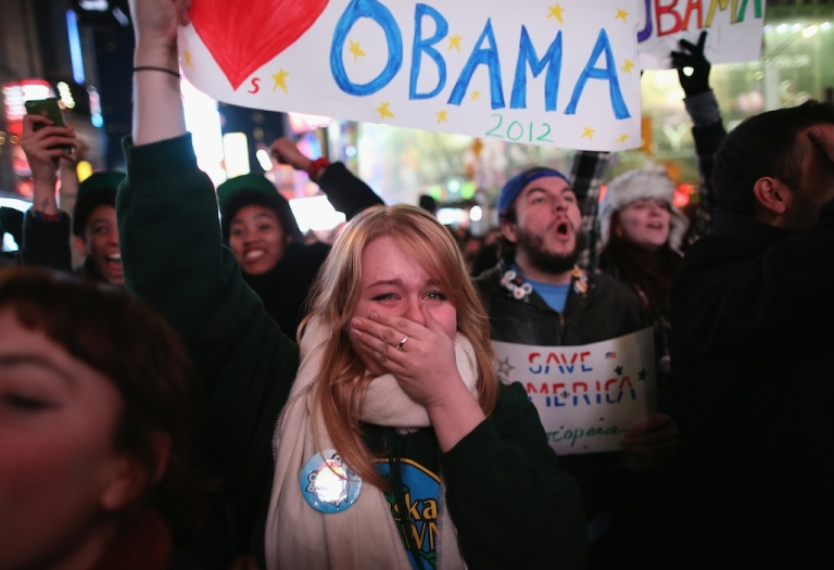 <p>Jessica Clark, 18, reacts in Times Square as television networks call the election in favor of President Barack Obama on November 6, 2012 in New York City.</p>