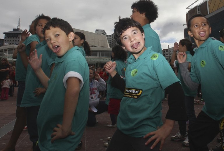 <p>School children and members of the public participate in the 'Superhaka for Christchurch' in support of the victims of the Christchurch earthquake at Aotea Square on May 19, 2011 in Auckland, New Zealand. Members of the public participated in the traditional Maori dance to show support for the victims of the Christchurch earthquake that hit the South Island on February 22 of this year.</p>