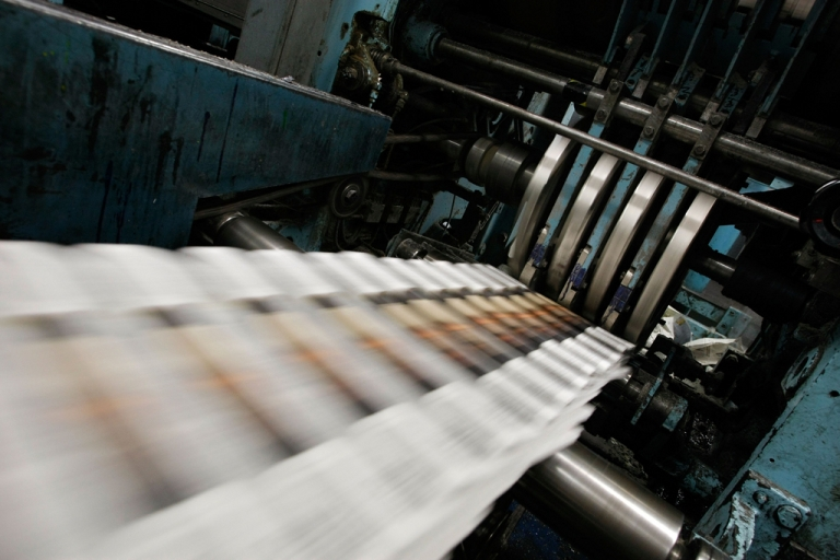 <p>Tumbling advertising revenues and shrinking readerships have fed the decline of print media.</p>