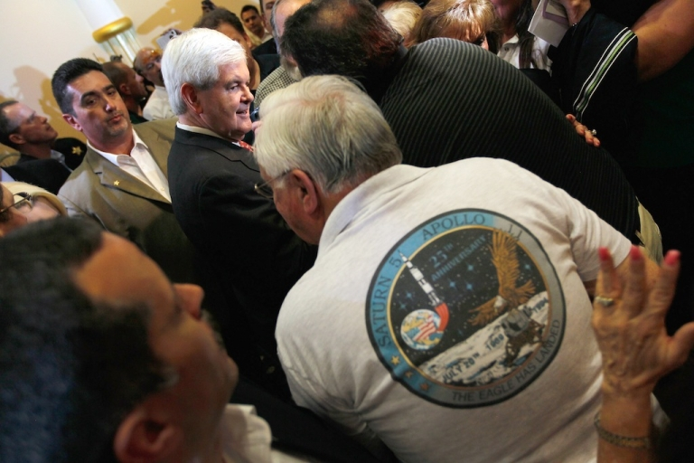 <p>Republican presidential candidate and former Speaker of the House Newt Gingrich greets people during a Space Coast Town Hall Meeting on January 25, 2012 in Cocoa, Florida.</p>