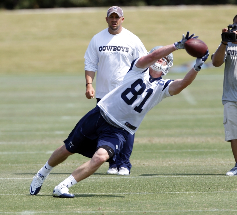 <p>Danny Coale #81 of the Dallas Cowboys works out during rookie mini camp on May 5, 2012, at the Valley Ranch Complex in Irving, Texas.</p>