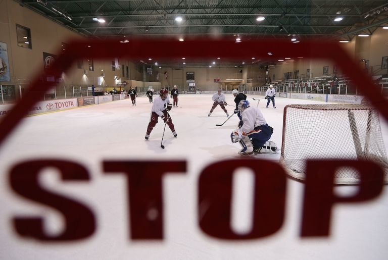 <p>Hockey players participate in a workout at the Ice Den on December 3, 2012 in Scottsdale, Arizona. More than a dozen players from around the league that were not able to play during the NHL lockout attended workouts at the Phoenix Coyotes practice rink. A deal to end the lockout was finally reached on January 6, 2013.</p>