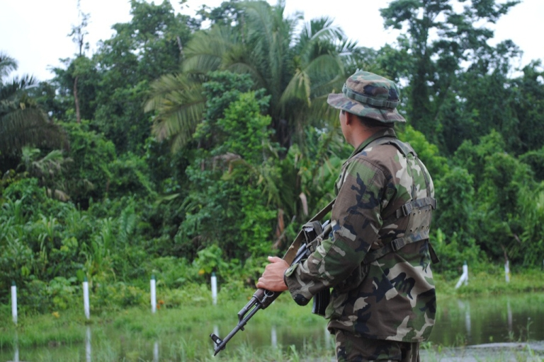 <p>Are the contras out there? The Nicaragua Army, such as this soldier watching thick jungle, claims publicly that there is no threat of a re-armed contra movement. But troops are reportedly searching for rebels.</p>