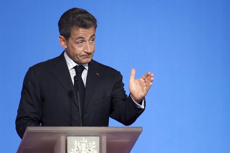 <p>French President Nicolas Sarkozy delivers a speech on June 27, 2011 during his fourth press conference at the Elysee Palace where he  announced that France would invest 1 billion euros in atomic power.</p>