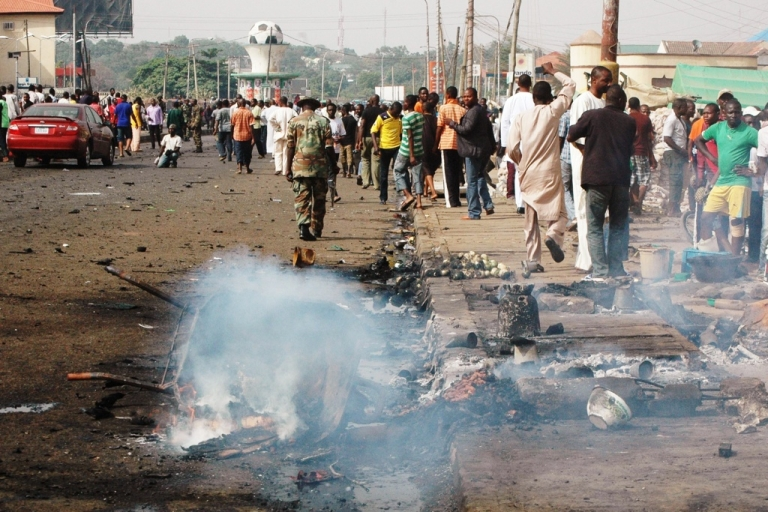 <p>The site of the Easter bombing in Kaduna on April 8, 2012. A car bomb blast outside a church in northern Nigeria on Easter Sunday killed at least 41 people and put the country on alert over fears of further attacks, rescue officials and residents said. Motorcycle taxi drivers and passers-by caught much of the blast.</p>