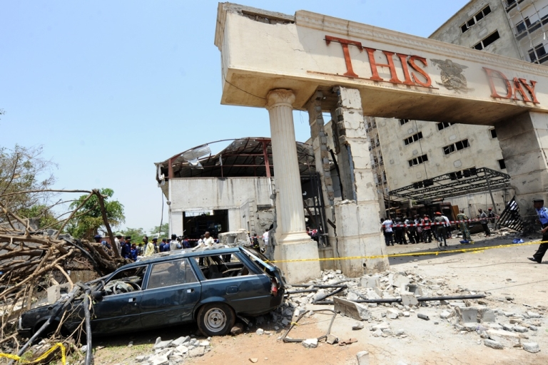 <p>The destruction at Nigeria's ThisDay newspaper offices in Abuja which were bombed on April 26, 2012. The suicide bomber killed two security guards and injured  five of the company's support staff. Bomb blasts targeting newspaper offices in Nigeria's capital and the northern city of Kaduna killed nine people.</p>