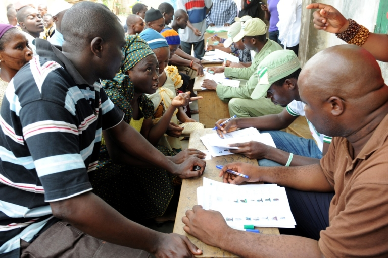 <p>Nigerians register to vote on April 2, 2011. Later that day Nigerian officials postponed the parliamentary elections citing organizational problems.</p>