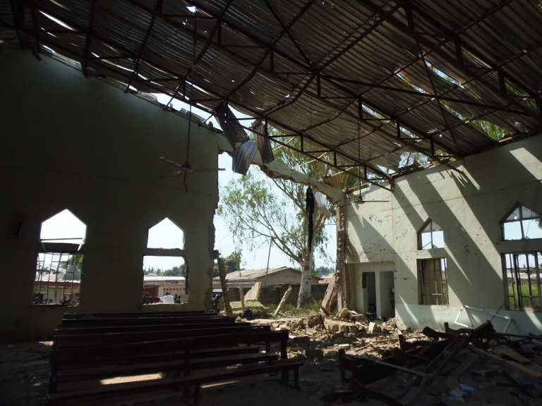 <p>View from inside a church in Kaduna targeted by a suicide attacker who detonated a car filled with explosives, in Kaduna, Nigeria, on Oct. 28, 2012.</p>