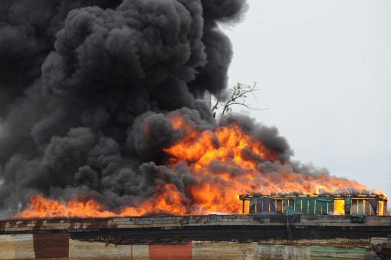 <p>A Chevron oil rig off Nigeria is now a raging inferno. Here a fire burns with crude oil seized by the Nigerian military from oil thieves in the Andoni area of Rivers State on April 12, 2011.</p>