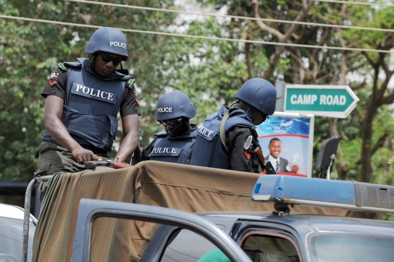 <p>Nigerian police arrested two students in connection with a gang-rape after a video of the incident surfaced on the internet. Here are Nigerian police on patrol.</p>