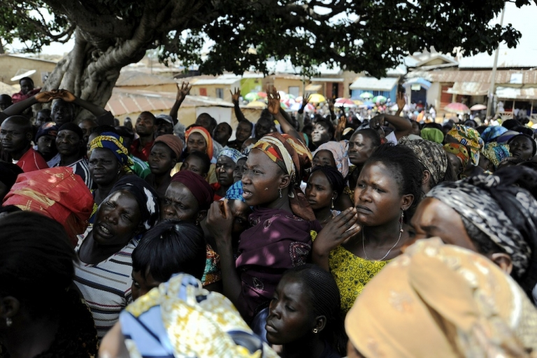 <p>Three former Nigerian governors are accused of stealing $647 million during their terms in office.  This picture shows Nigerian voters waiting to cast their ballots on April 26, 2011 at a station in Jos, the capital of Plateau state, prior to the start of the gubernatorial elections.</p>