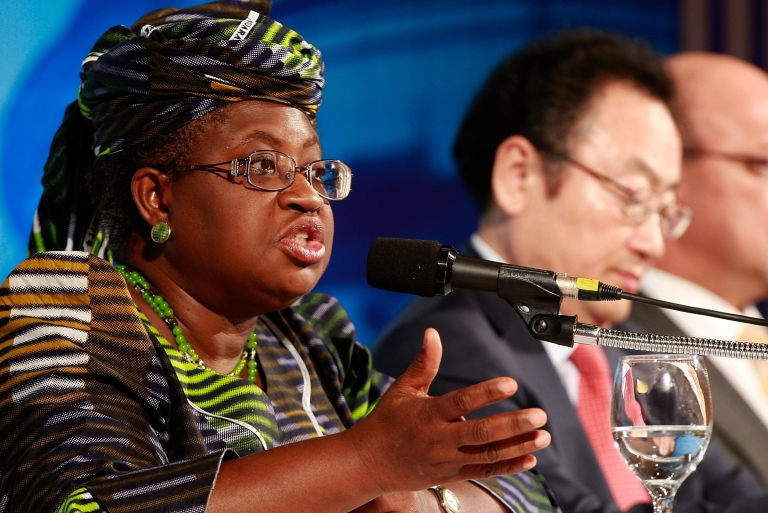 <p>Current Nigerian Finance Minister Ngozi Okonjo-Iweala speaks at the G-20 Financial Ministers and Central Governors meeting in South Korea as co-managing director of the World Bank on June 4, 2010.</p>