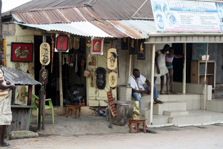 <p>Local artists run shops like this in Benin City that have been in their families for generations.</p>