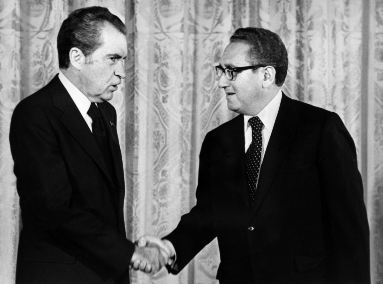 <p>The Nixon Presidential Library and Museum has released the final installment of the Nixon tapes. President Richard Nixon (L) shakes hands with trusted advisor Henry Kissinger, Secretary of State, in Washington, D.C. on Sept. 1, 1973.</p>