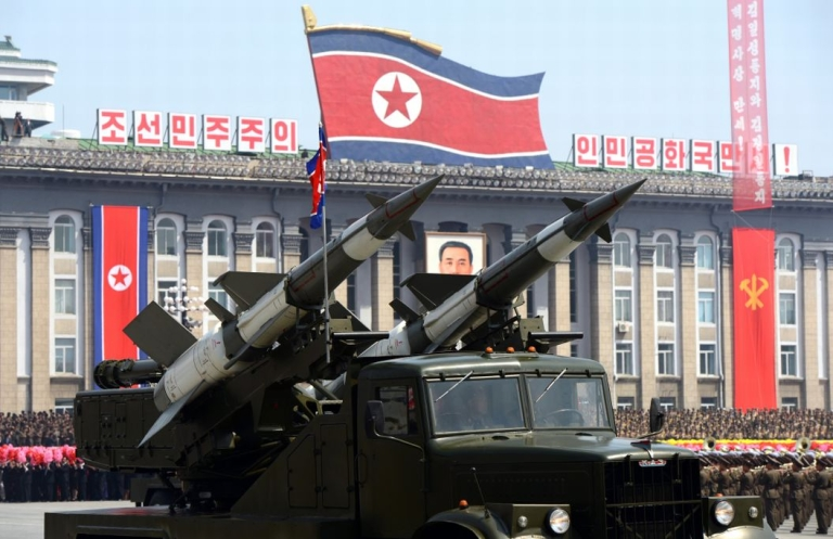 <p>Missiles are displayed during a military parade to mark 100 years since the birth of the country's founder Kim Il-Sung in Pyongyang on Apr. 15, 2012.</p>