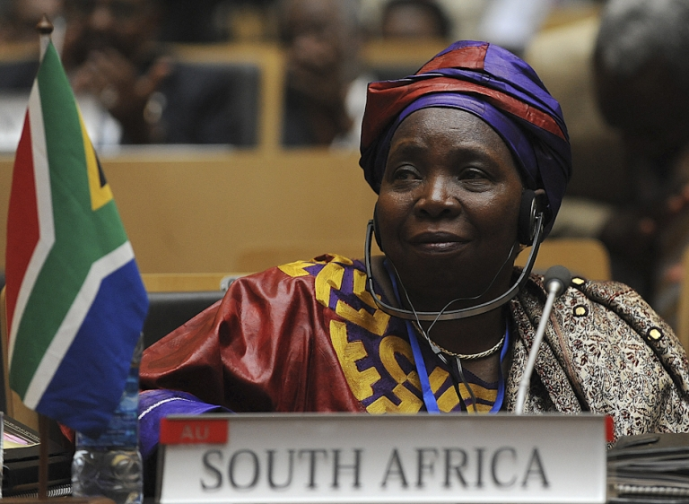 <p>South African Home Affairs Minister Nkosazana Dlamini-Zuma attends the African Union summit on July 15, 2012 in Addis Ababa. Dlamini-Zuma has been elected the new AU leader over incumbent Jean Ping of Gabon.</p>